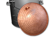 Copper sieve leaned